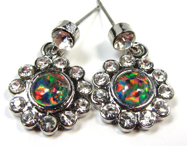 GEM OPAL EARRINGS WITH CZ  CSS 125