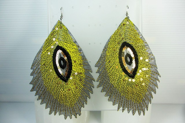 PEACOCK FEATHER EARRINGS QT 345