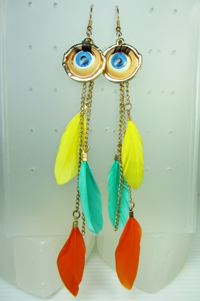THE EYE FEATHER EARRINGS QT 341