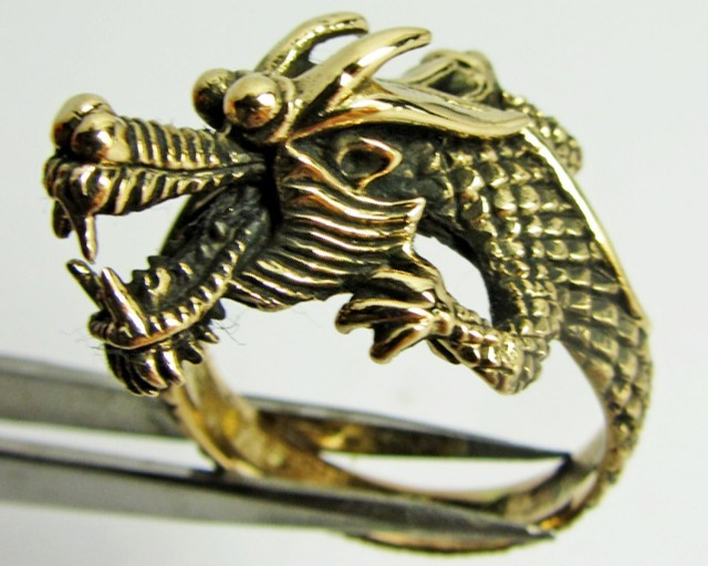 Auction #1315 ADUSTABLE DRAGON BRONZE RING SIZE 8 QT 702