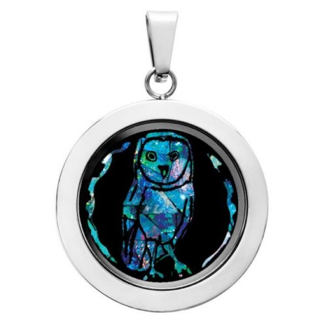 Owl Opal locket ,opal etched SB 550