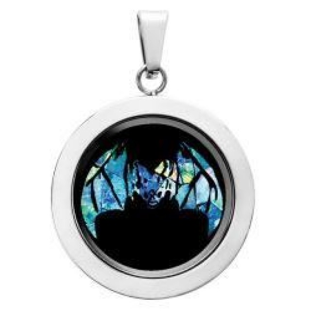 Bat Opal locket ,opal etched SB561