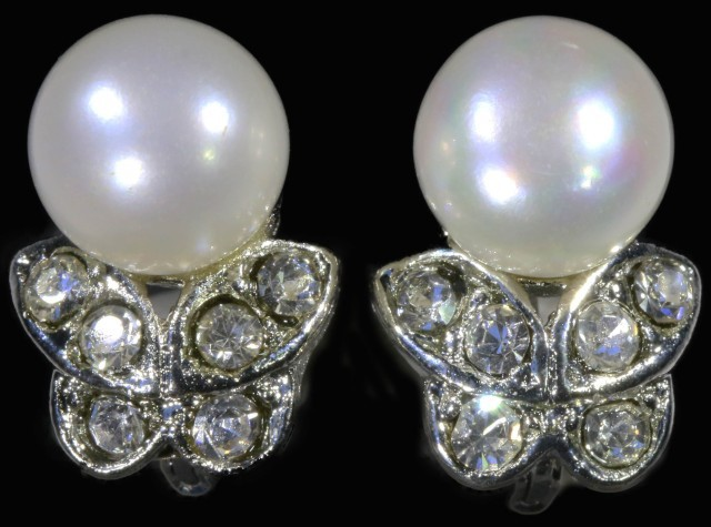 French clip 8 mm fresh water pearl earrings PPP1232