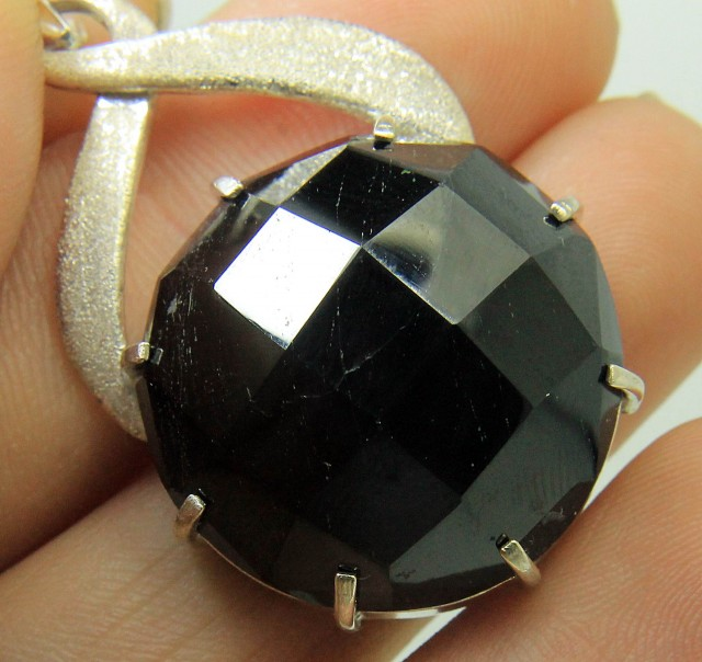 Most Beautiful hand made Checker Cut Black Tourmaline Pendant In 925 Standa