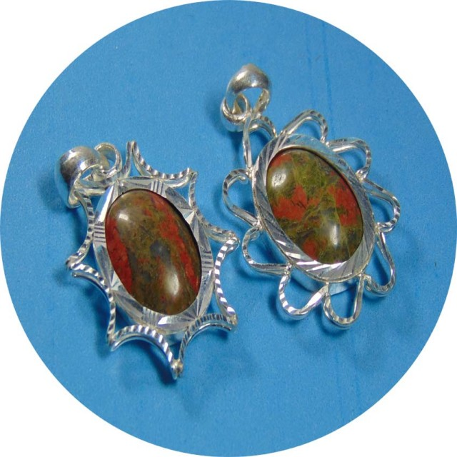 75.60 Ct Natural designer unakite stones with pure silver pendent