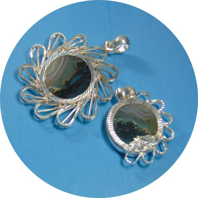 160.80Ct Natural moss agate jewellery pendent with pure silver
