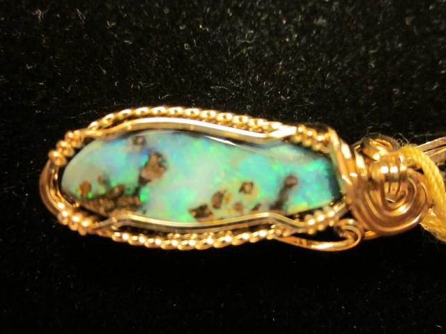 New 20 carat handmade Boulder Opal Gemstone pendant 14k gold wire list 1,49