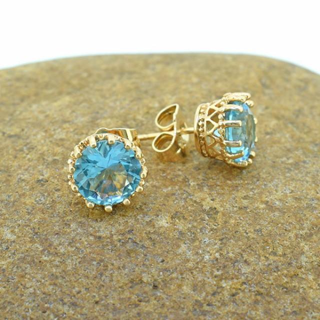 Aquamarine Simulant Goldfilled Stud Earrings
