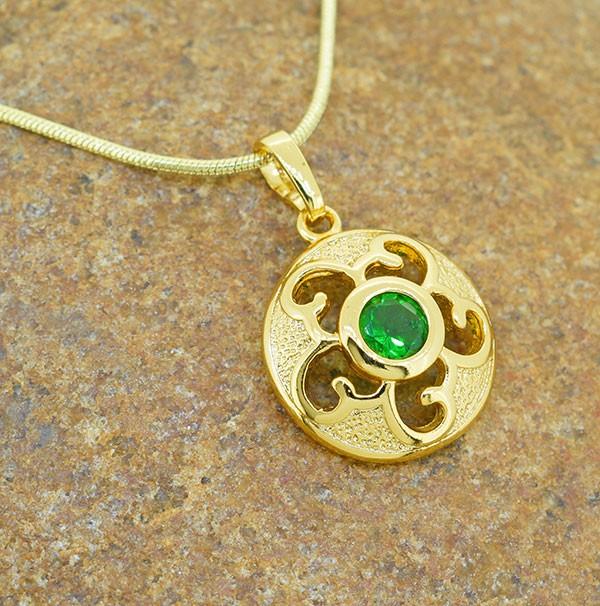 Emerald Simulant Gold Filled Pendant