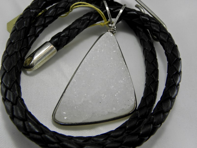 Druzy Quartz Pendant with cord made by Jim Fowler