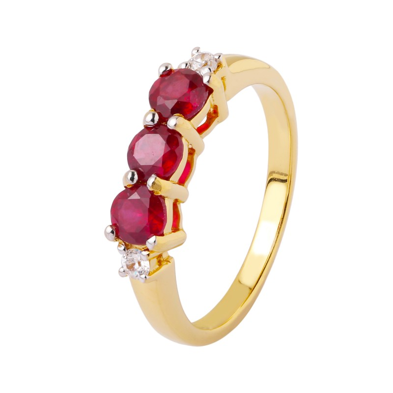 Ruby Genuine 925 Sterling Silver Gold Plated 36446