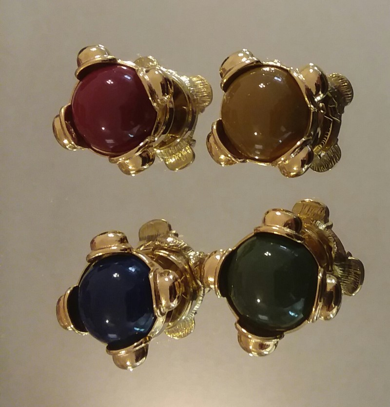 VINTAGE BUTTON COVERS SET OF 4 PREMIUM QUALITY 1960'S CIRCA CABOCHON STYLE