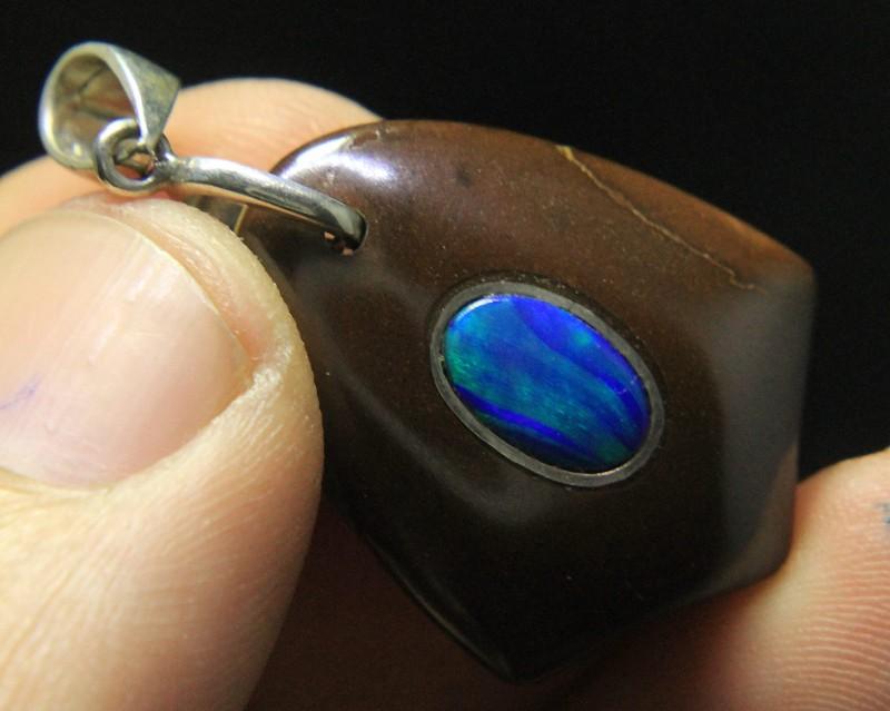 Blue Opal Fix in Opal Mother Rock Pendant From Australia