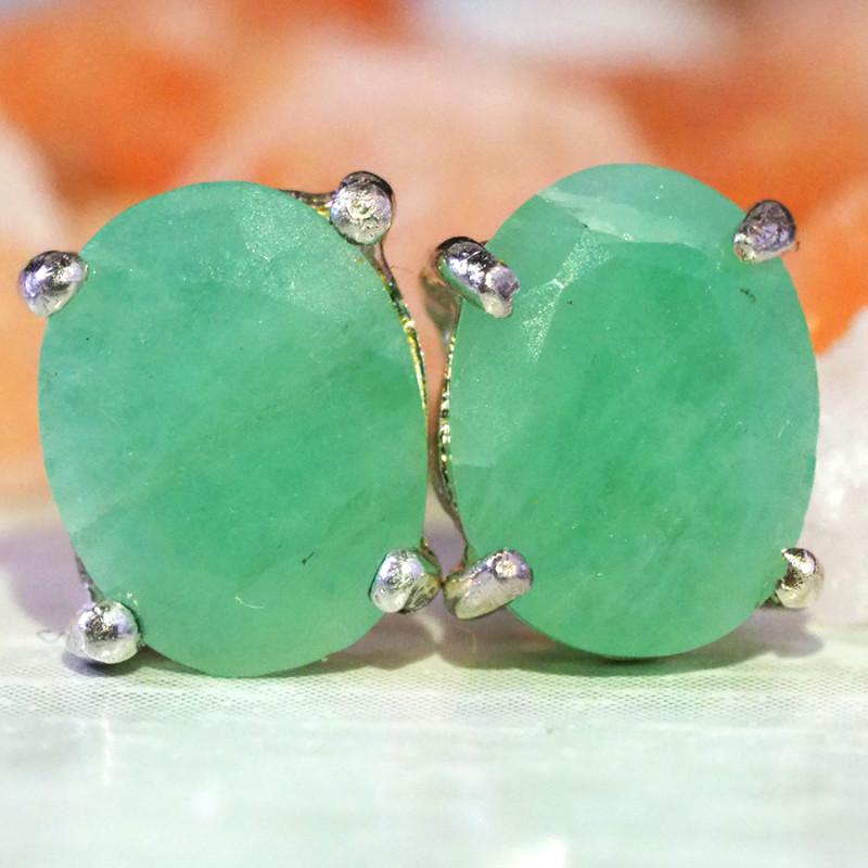 Jade set in   Silver Earrings   WS425