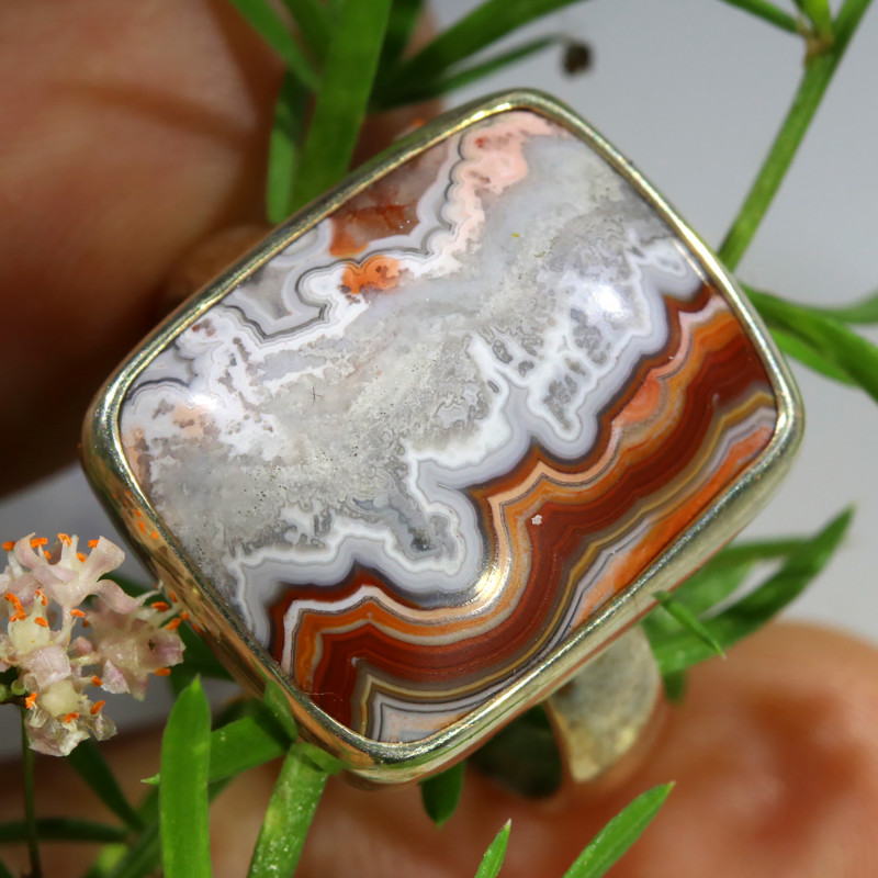 39.85 CTS LAGUNA LACE AGATE SILVER RING SIZE 10 [SJ1568]