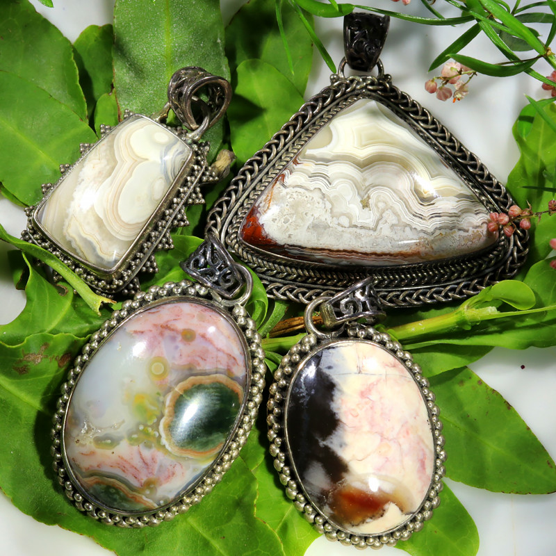 196.15 CTS LAGUNA LACE AGATE SILVER PENDANTS WITH BAIL [SJ4500]