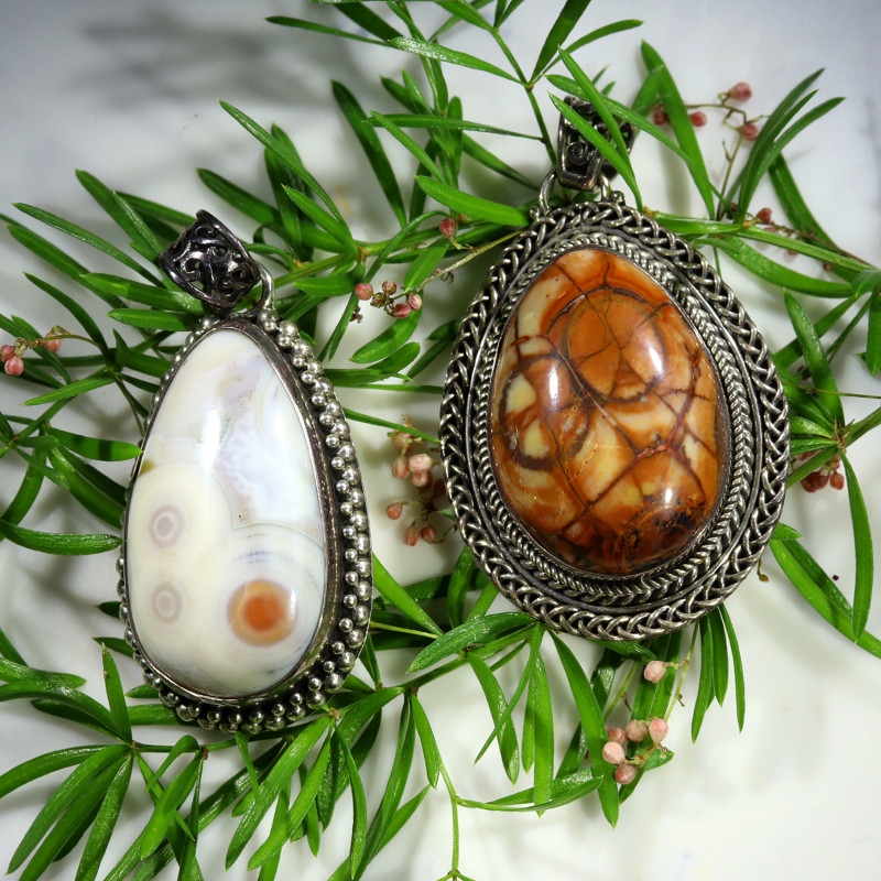 111.85 CTS LAGUNA LACE AGATE SILVER PENDANTS WITH BAIL [SJ4503]