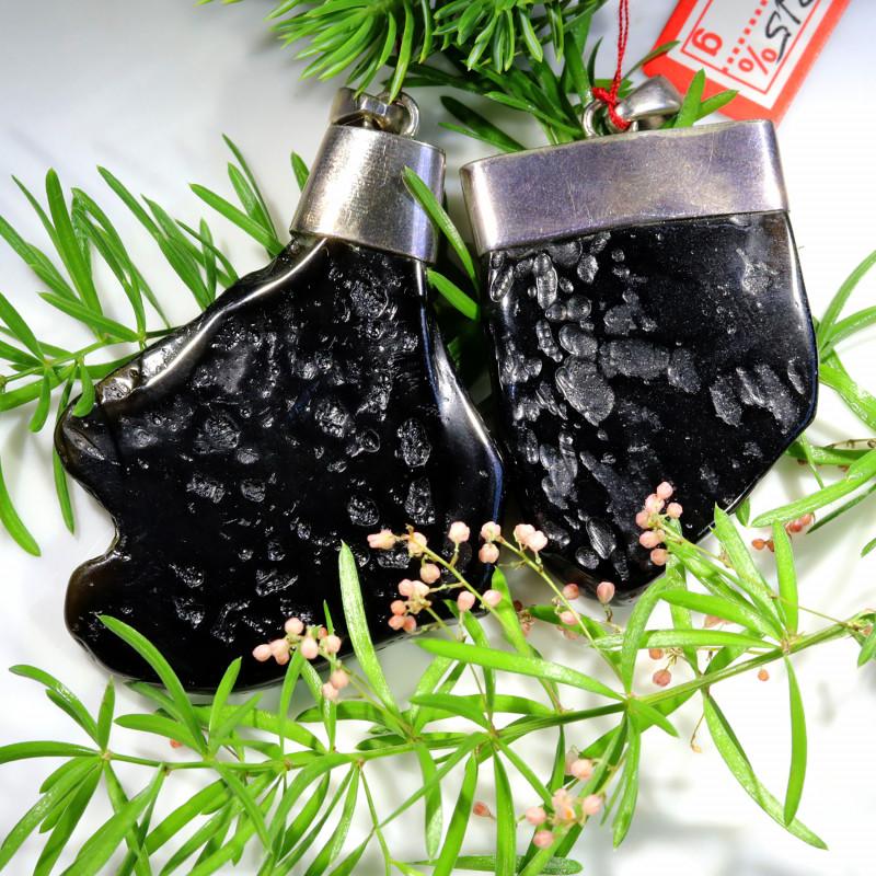 160.40 CTS BLACK TEKTITE SILVER PENDANTS WITH BAIL [SJ4506]