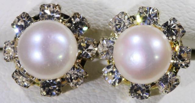 8 mm Natural Fresh water Pearl Earrings ppp 1247