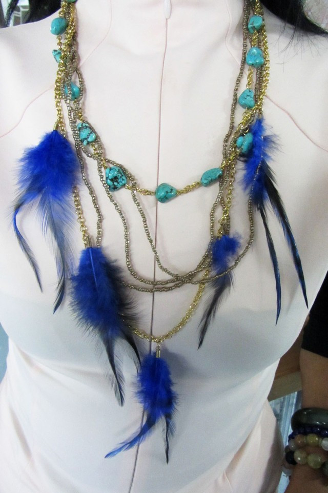 ONE OFF TURQUOISE  FEATHER STYLE NECKLACE QT178