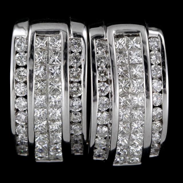 1 Cts STUNNING  18K WHITE GOLD 76 DIAMOND EARRINGS SCO 3
