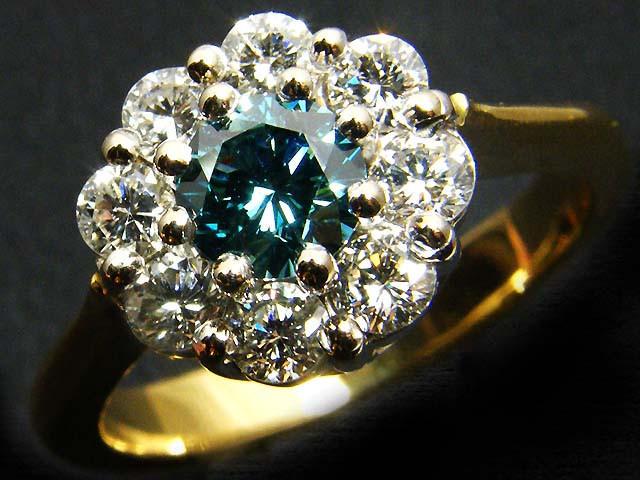 CERTIFIED BLUE DIAMOND .52 VSI 18 K GOLD RING SIZE 7 OP40