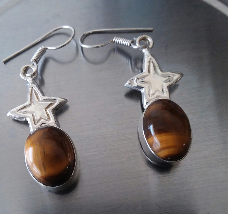 TIGERS EYE EARRINGS WITH SS HOOKS HANGERS 1 3/4 INCH HANGING DESIGN