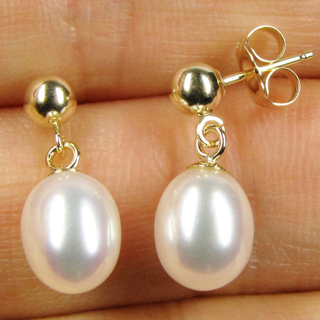 AUSTRALIAN DYNASTY 14 K GOLD 8/7 MM PEARL DROP EARRING JAO 24