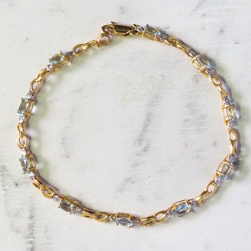 AQUAMARINE 10KT YELLOW GOLD BRACELET 19.45 CTS GTJA308