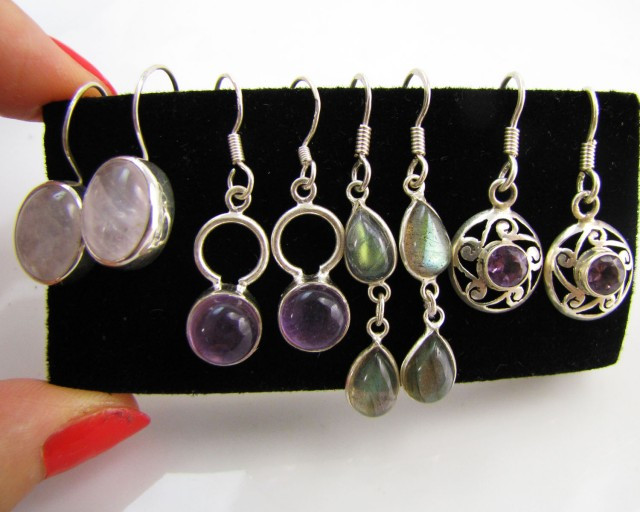 4 NATURAL GEMSTONE EARRINGS-RE SELLERS PARCEL MJA1173