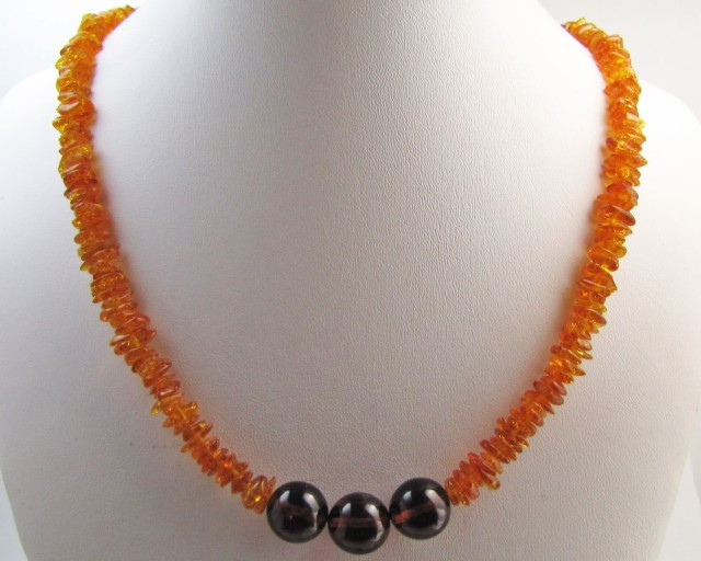 Amber Necklace two tone MJA1134