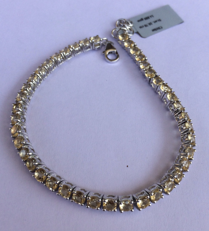 Citrine 925 Sterling silver bracelet #33074