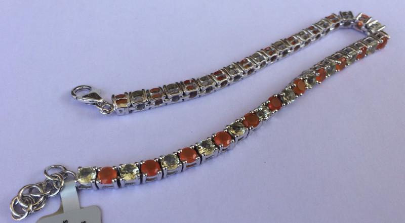 Citrine Carnelian 925 Sterling silver bracelet #33074