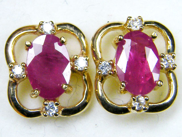 BEAUTIFUL  RUBY N DIAMONDS 14K YELLOW GOLD EARRINGS MYT 809
