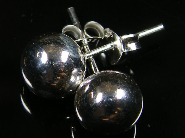 MODERN BALL8 MM STERLING SILVER EARRING MYT 557