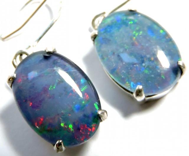 Large Sheppard hook Triplet opal earrings silver Pl1069