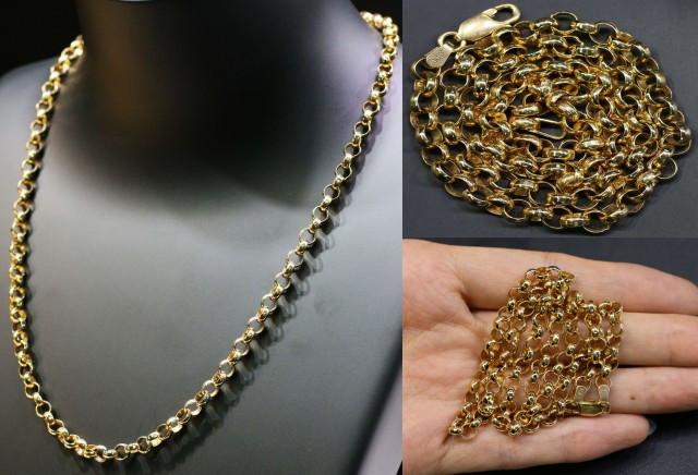17.3 Grams 9K ROUND GOLD CHAIN, 45 CM LONG L365