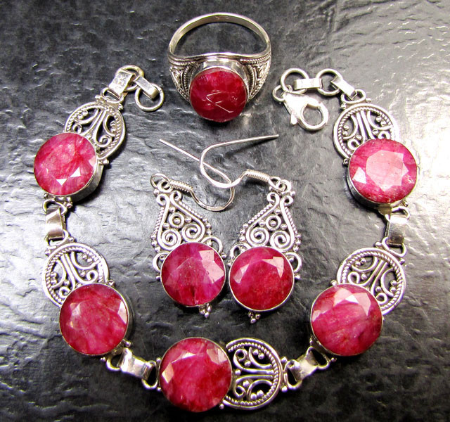 RUBY DESIGNER SET EARRINGS ,RING,BRACELET MYG 1350