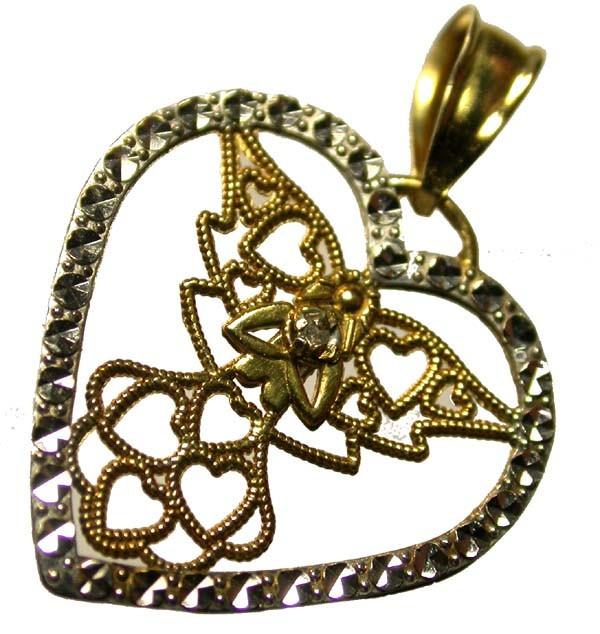 DIAMOND PENDANT-CALLIGRAPHY 10 k GOLD   [SJ871 ]