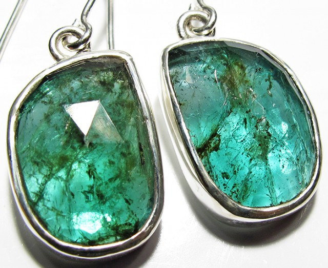 NATURAL EMERALD EARRINGS -SILVER [SJ4103]