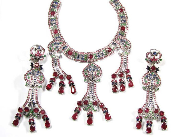 STUNNING GEM PRINCESS JEWELRY SET RUBIES,EMERALDS 90773