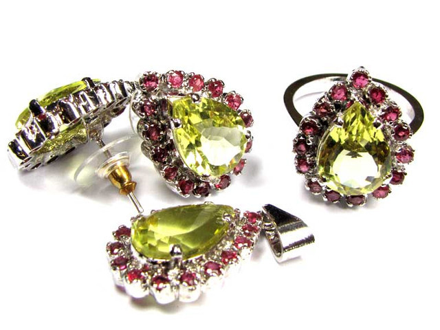 STUNNING RUBY/CITRINE JEWELRY SET  8 1/2 RING SIZE 90760