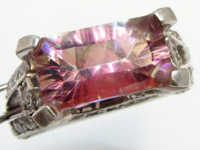 Mystic Quartz Pink Hues, set in Silver Ring size 9.5 MJA 806