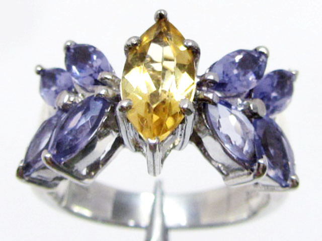 Bright Citrine/Iolite set in silver ring size 8.5 MJA 786