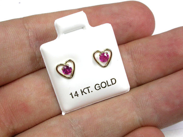 RUBY 14K YELLOW GOLD EARRINGS GTJA233