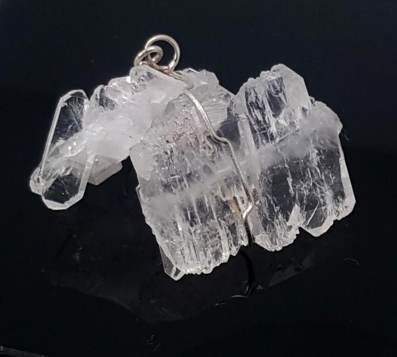 46 Carats Natural Faden  Quartz Silver Pendant