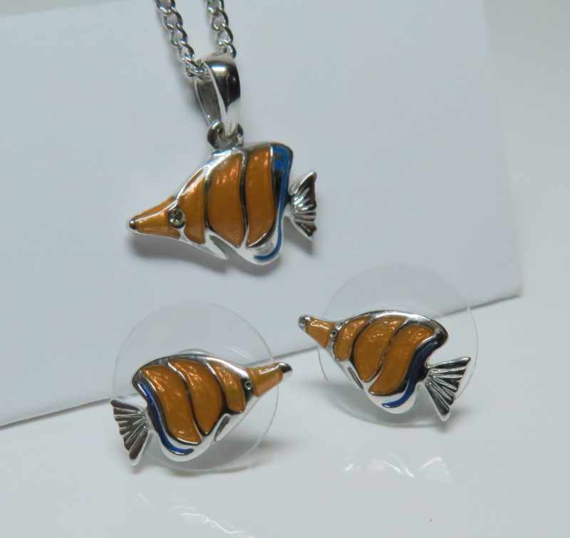 Tropical Reef Fish Collection Pendant, Earrings Set Pewter