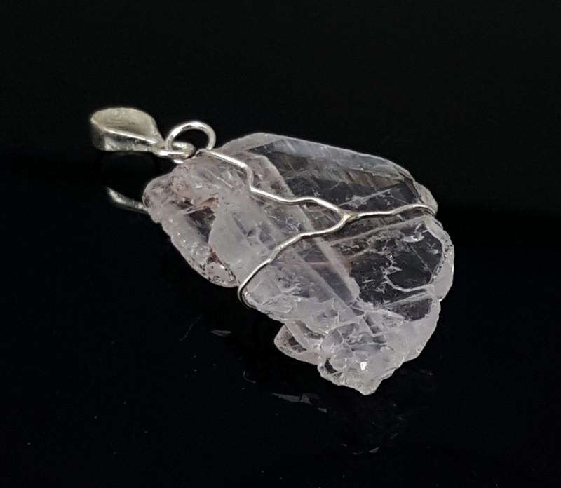 26 Carats Natural Faden Quartz Silver Pendant