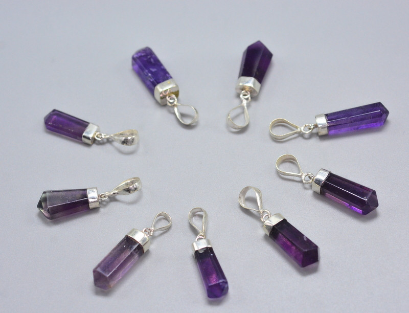 10 Pcs OF Natural Fluorite Pendents With Silver