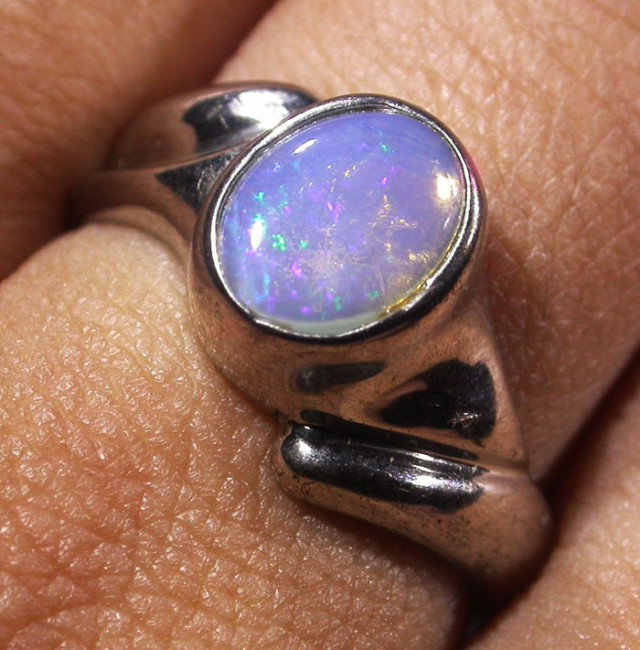 Solid Crystal Opal Silver Ring AGR 1159